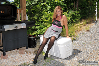 Dawn is heating things up at the BBQ with her sexy pantyhose