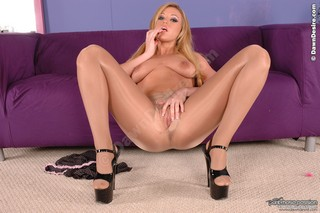Memphis looks amazing as always in sexy shiny nude pantyhose