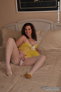Dawn spreads her wet pussy in white pantyhose